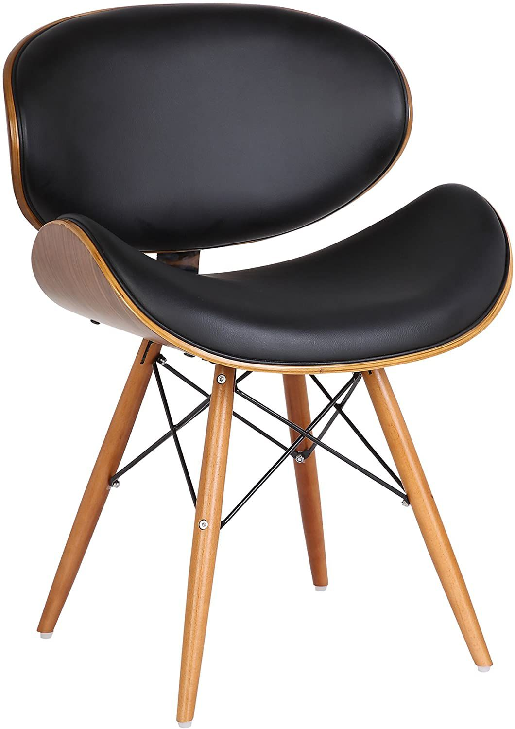Armen Living Cassie Chair in Black Faux Leather and Walnut Wood Finish