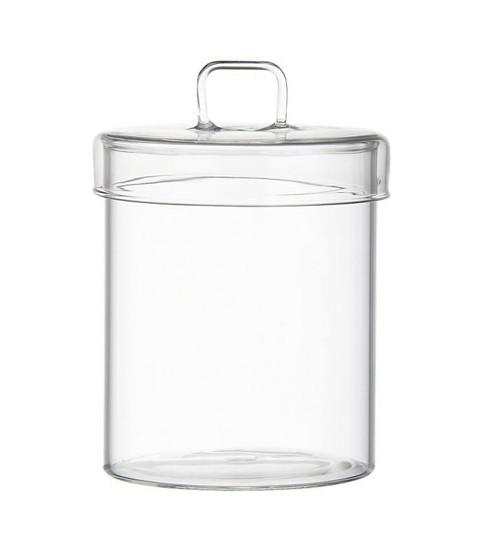 pincher glass canister with lid