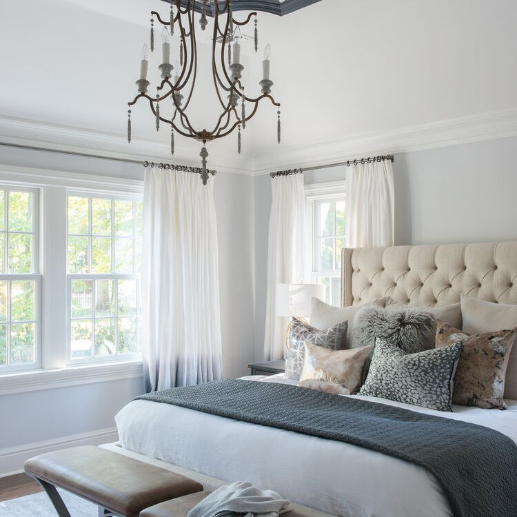 Bedroom with purple accent ceiling