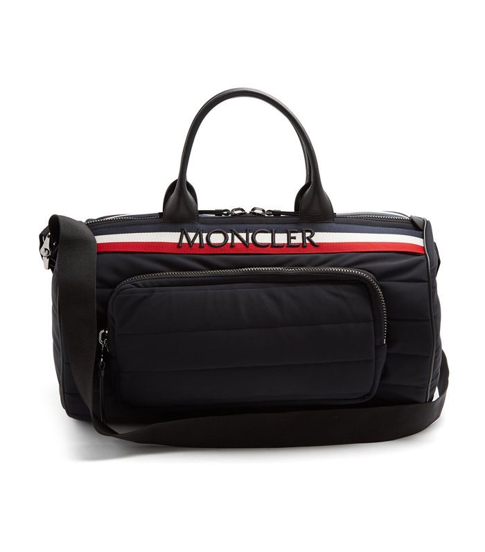 Moncler Striped Logo-Embroidered Quilted-Nylon Holdall