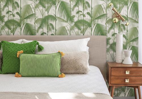 Jungle green bedroom.