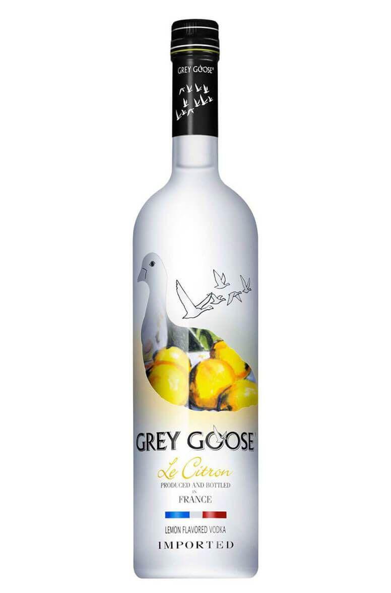 Bottle of Grey Goose Le Citron vodka.