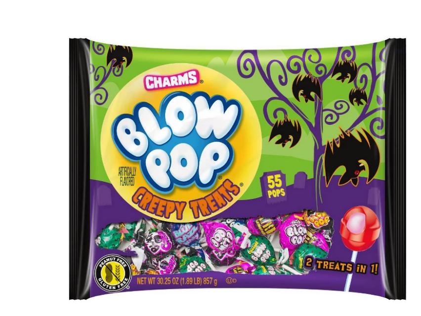 A bag of Blow Pops Creepy Treats Halloween candies.