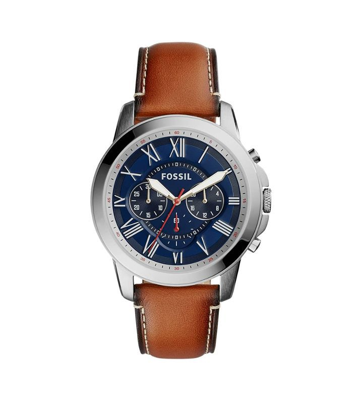 'Grant' Round Chronograph Leather Strap Watch