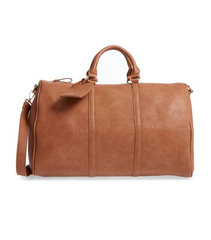 'Cassidy' Faux Leather Duffel Bag - Beige