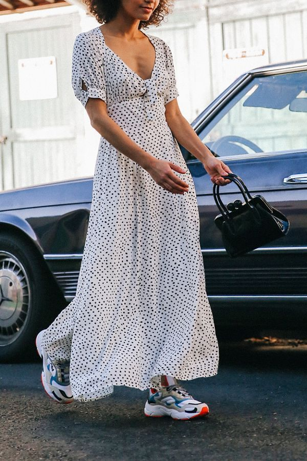 Urban Outfitters Devin Polka Dot Tie-Front Midi Dress