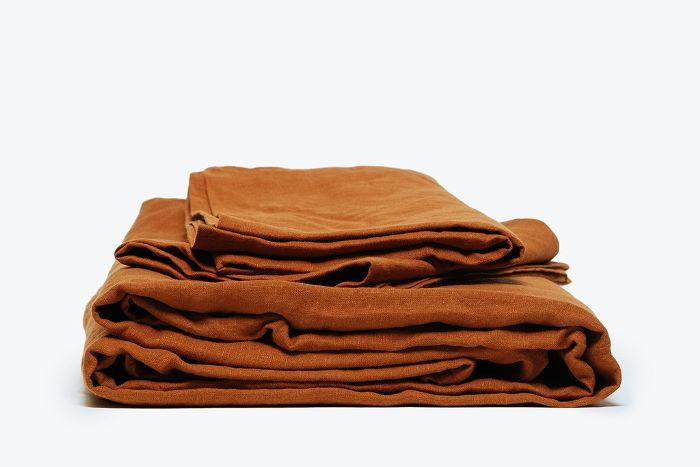 Morrow Soft Goods Classic Sheet Set Heirloom French Linen, Terracotta