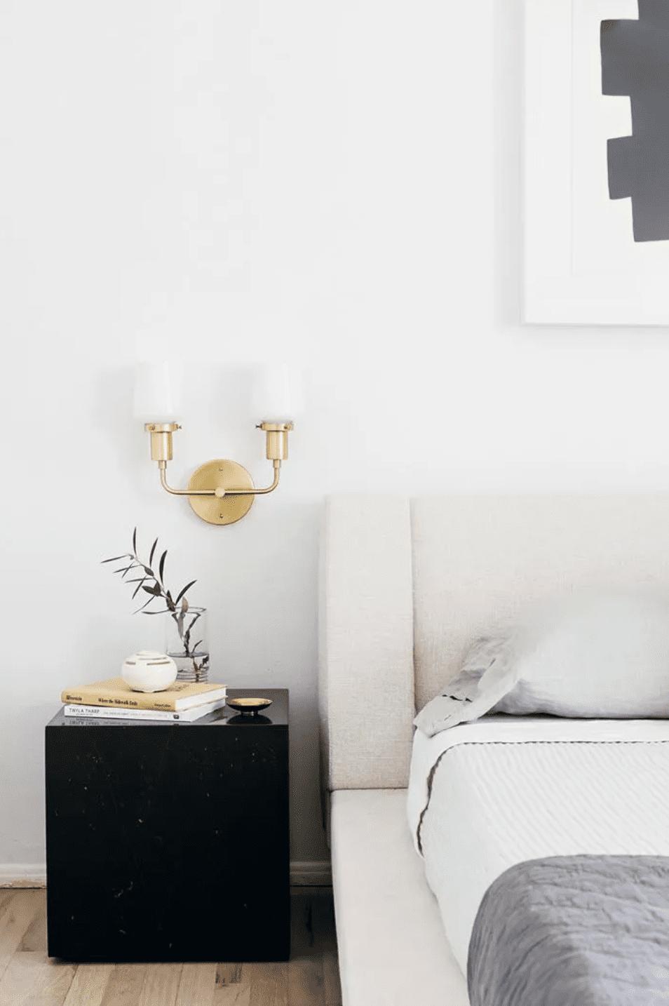 Calm bedroom balances colors and textures