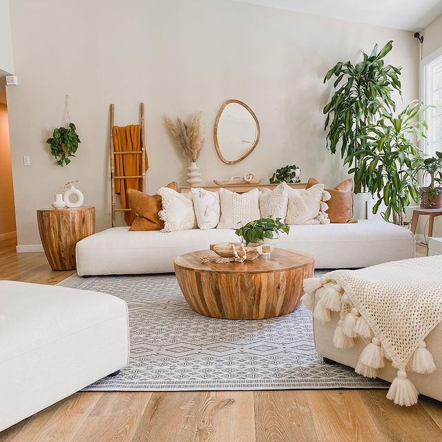 Bright, modern living room with house plants