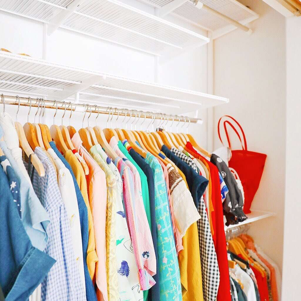 Closet with wooden hangers
