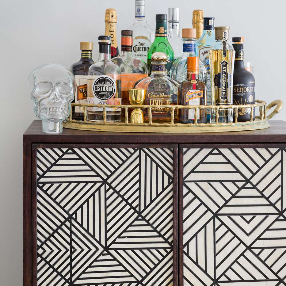 Geometric cabinet with bar tray on top
