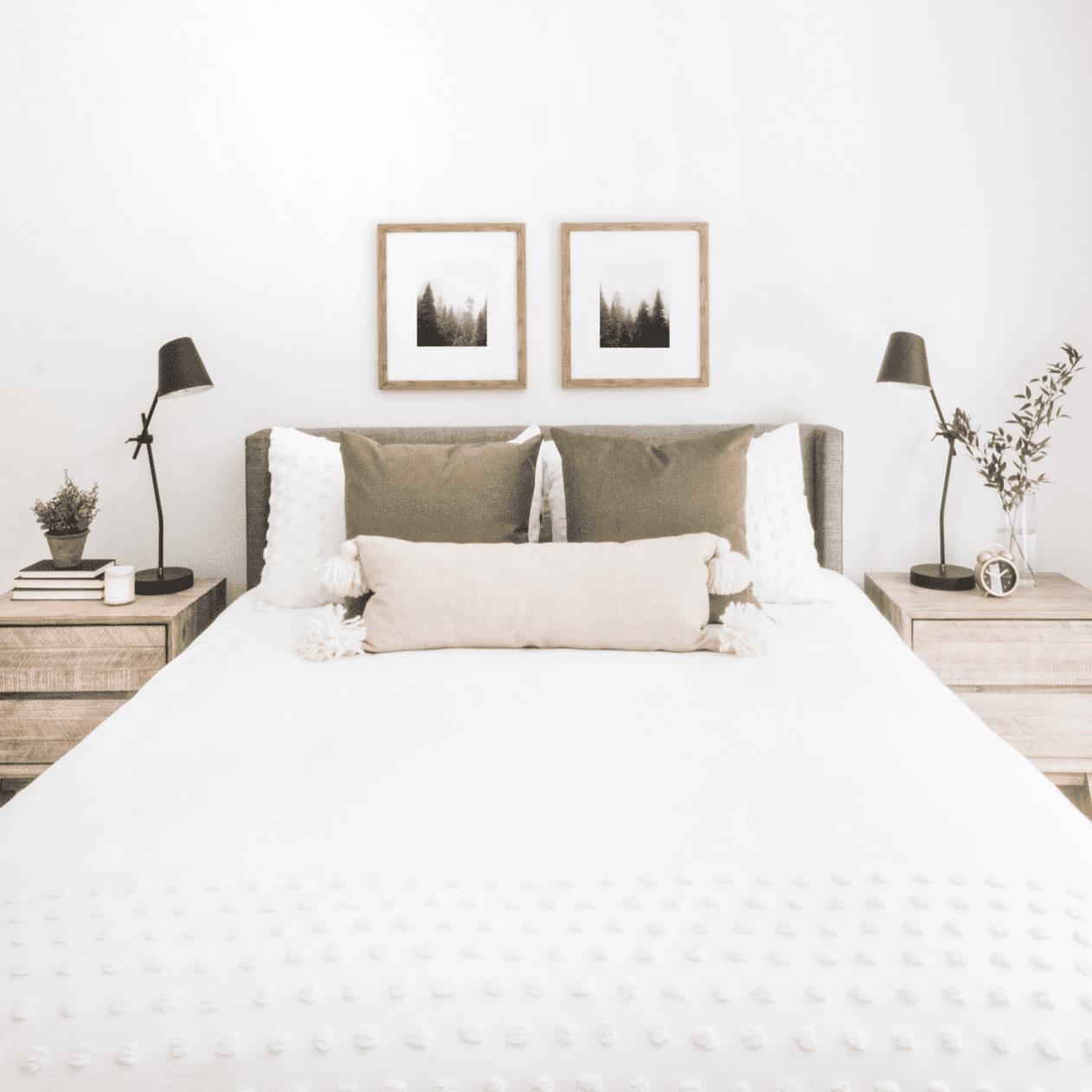 a minimalist bedroom with sleek modern desk lamps