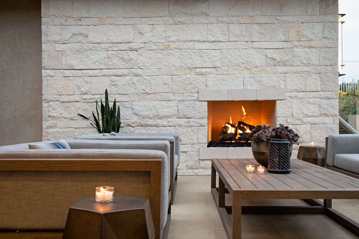 Outdoor patio with candles