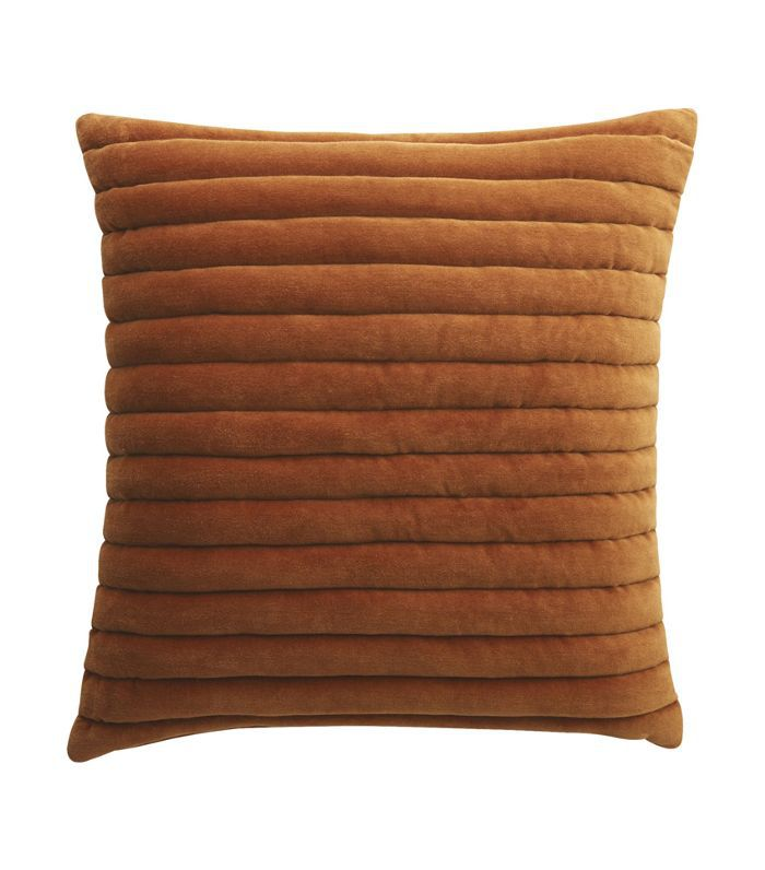 CB2 Channeled Copper Velvet Pillow