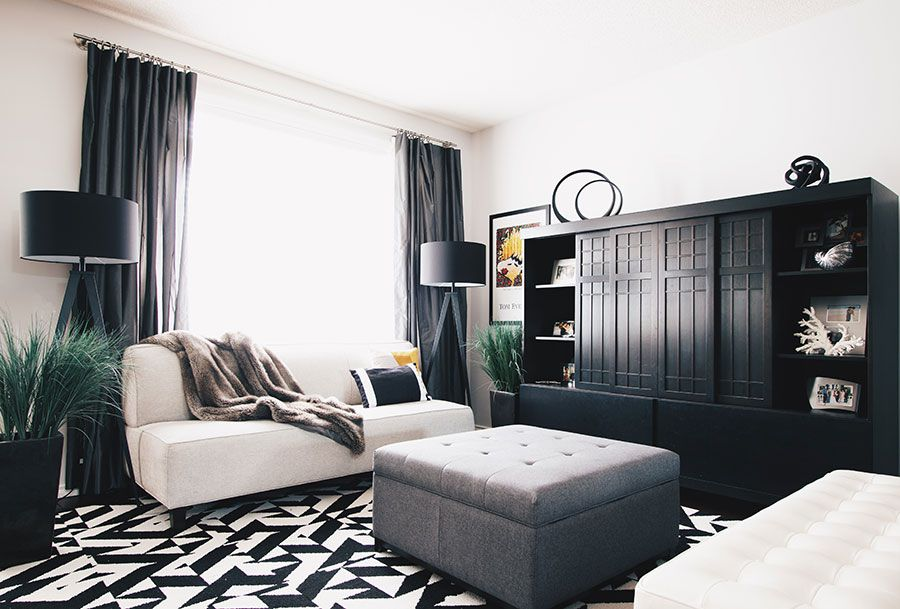 Living room with black accents
