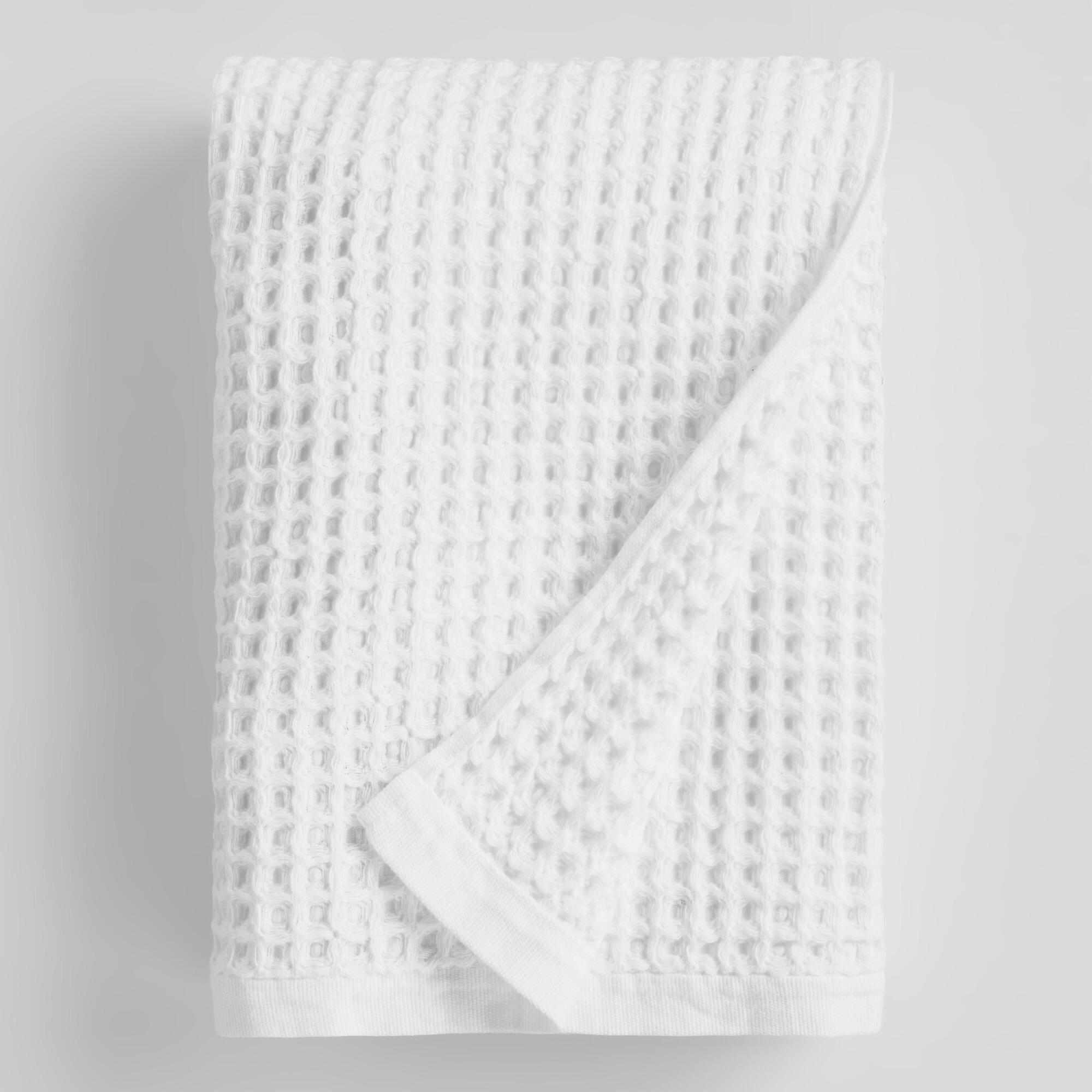 World Market White Waffle Weave Cotton Bath Towel