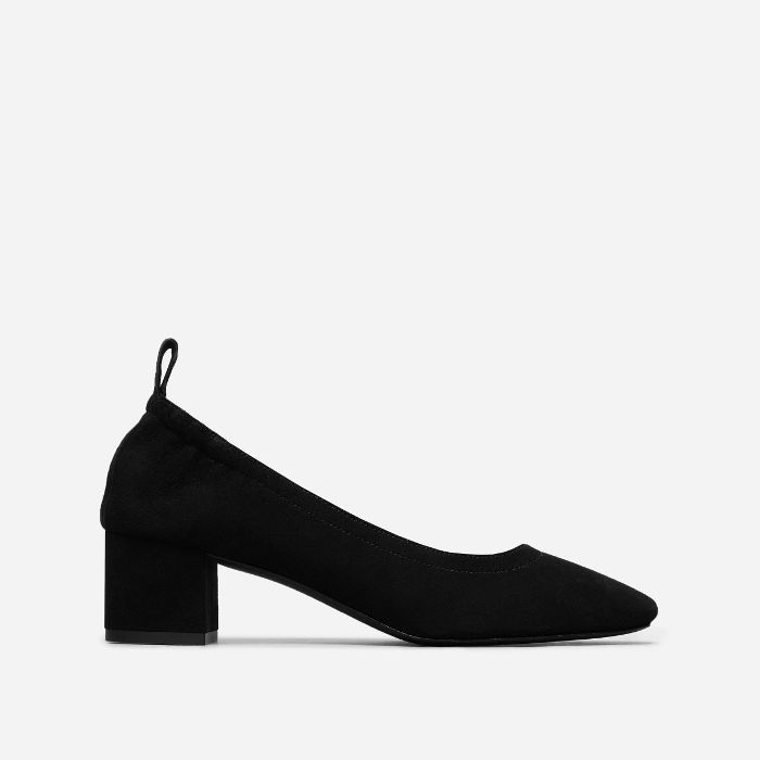 Women's Leather Block Heel Pump by Everlane in Black Suede, Size 11