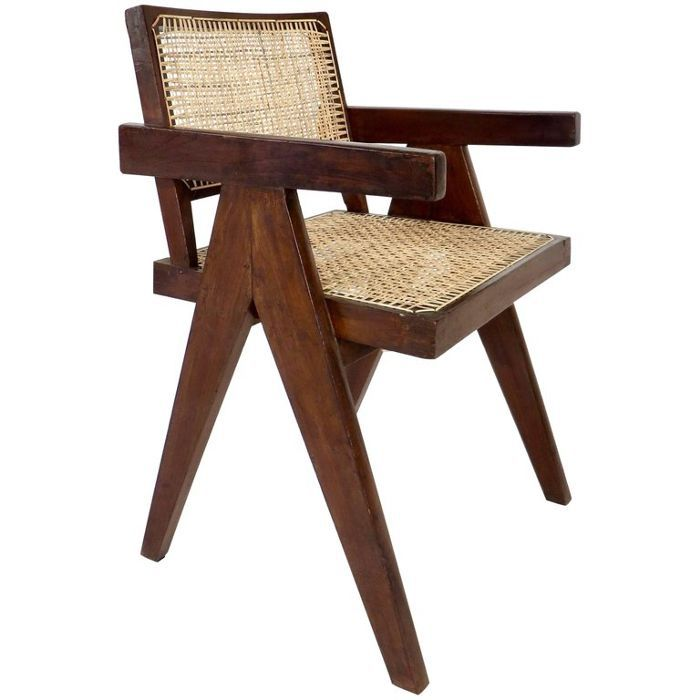 Pierre Jeanneret Teak Office Cane Chair Armchair