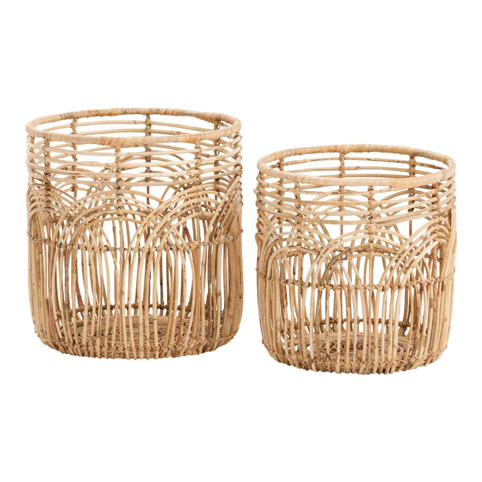 Natural Rattan Open Weave Waverly Basket