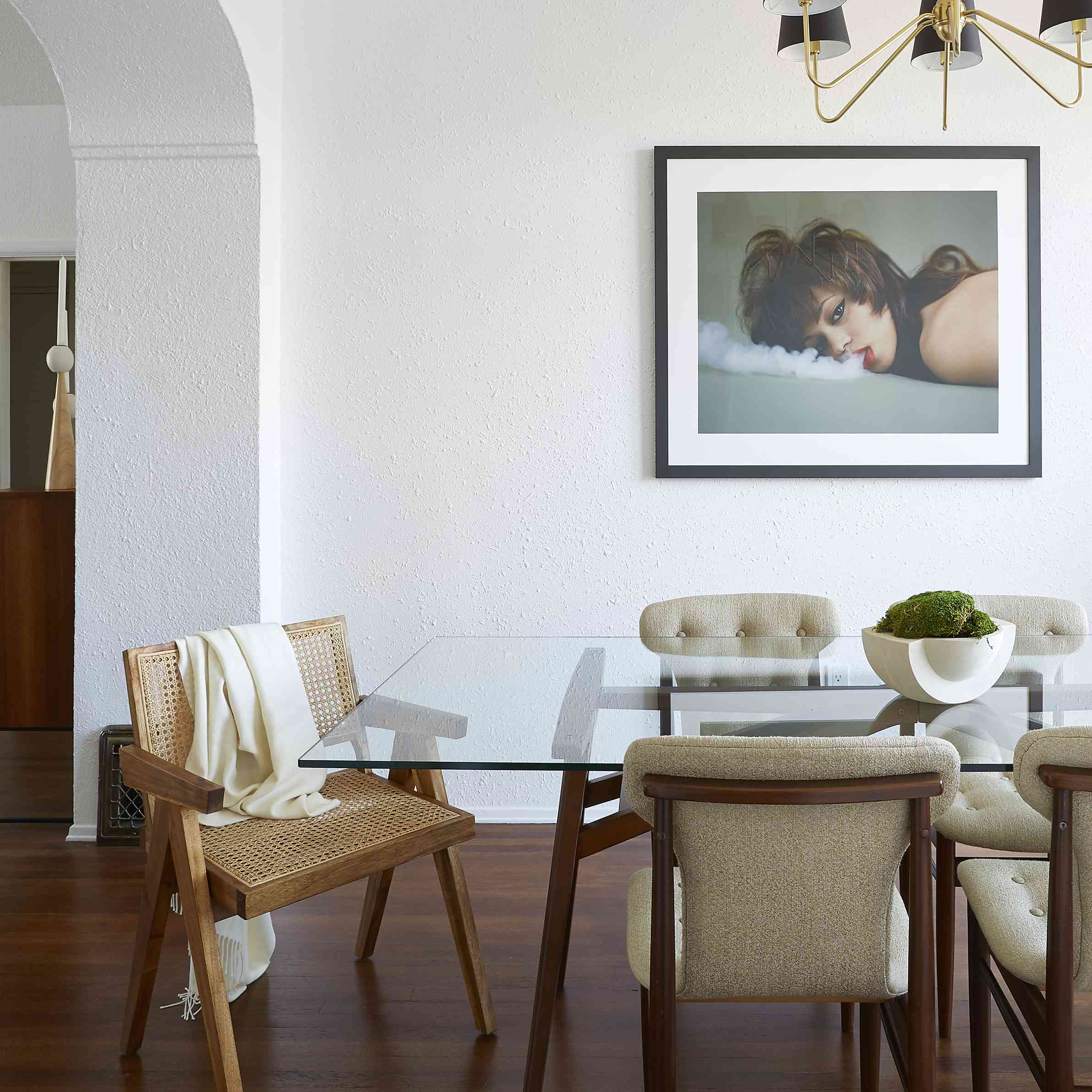 dining room with vintage dining chairs