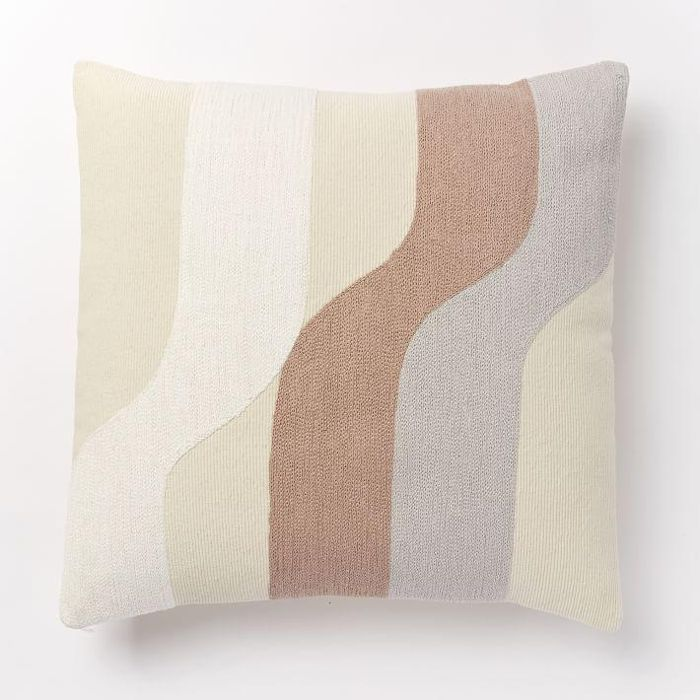 Corded Wavy Shapes Collage Pillow Cover