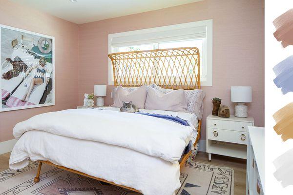 bedroom color schemes - pink + blue + white + gold