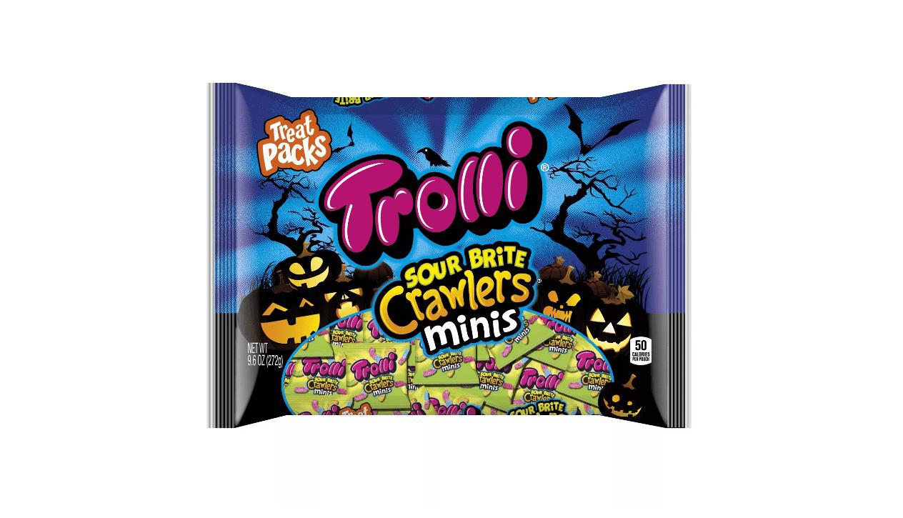 A bag of Trolli sour brite crawlers mini gummy worm candies with a Halloween motif.