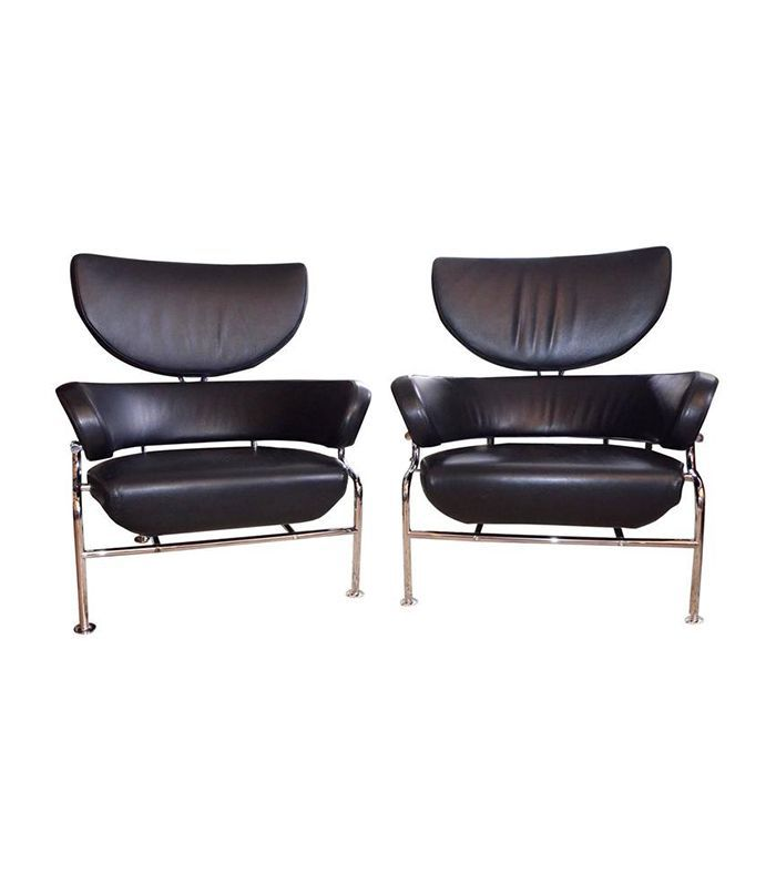 Franco Albini for Cassina Pair of Black Leather Armchair Three Pezzi