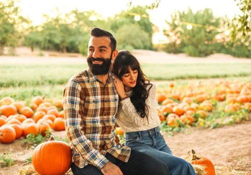 couple at pumpkin patch