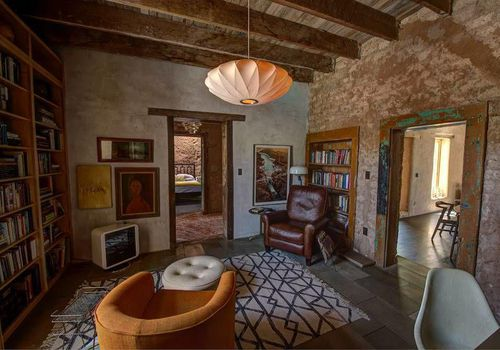 An living room in Diane Keaton's Tuscon adobe home.