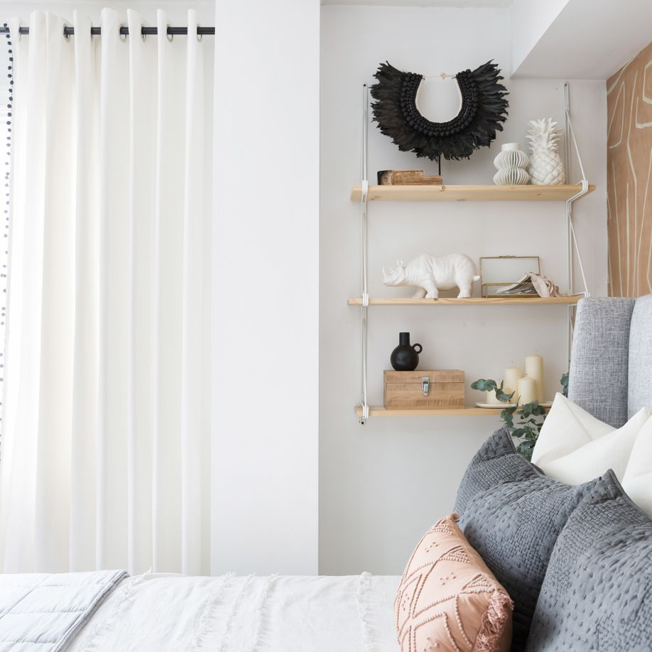 Bedroom with side shelves