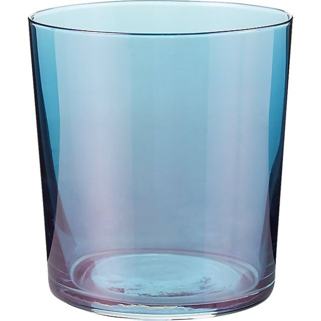 CB2 Marta Deep Teal Luster Double Old-Fashioned Glass