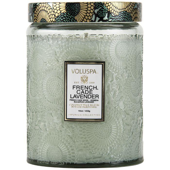 Voluspa Large Embossed Glass Jar Candle