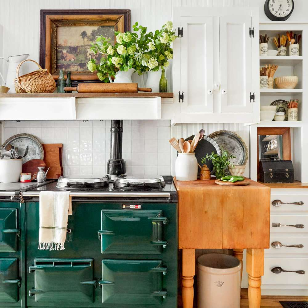 A kitchen with vibrant green appliances