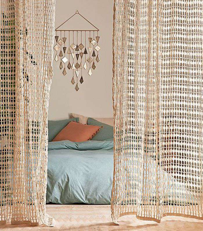 Joni Net Window Curtain - Neutral 84 at Urban Outfitters