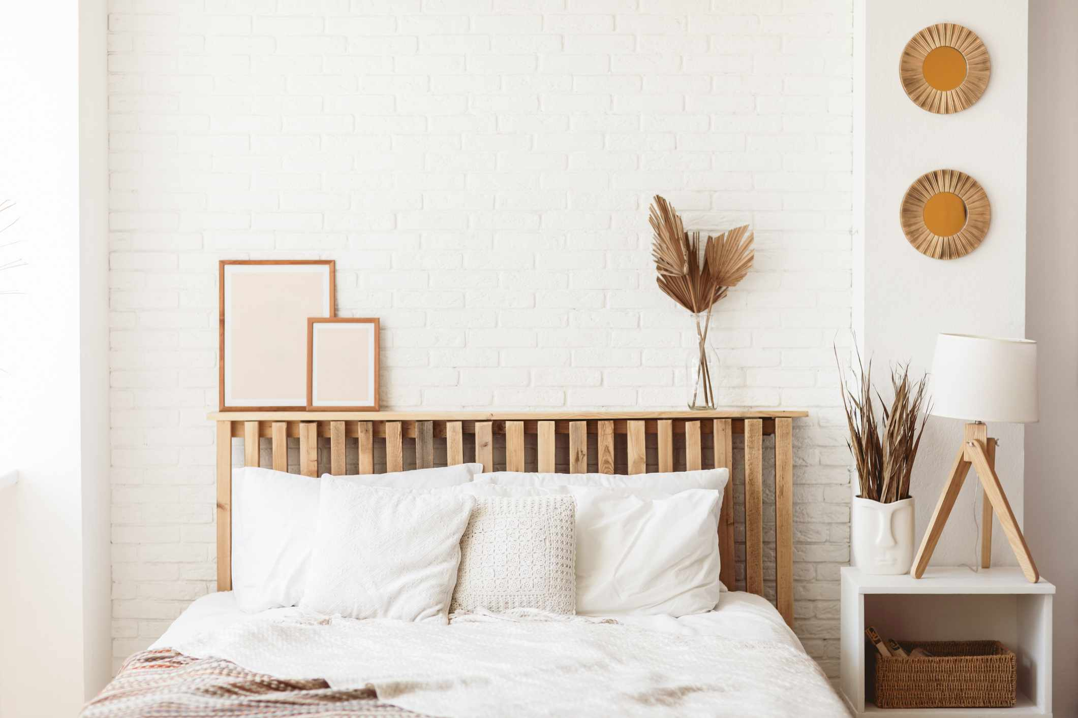 cozy minimalist bedroom with wood accents