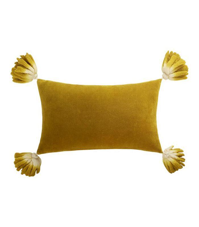 CB2 Bia Tassel Mustard Velvet Pillow