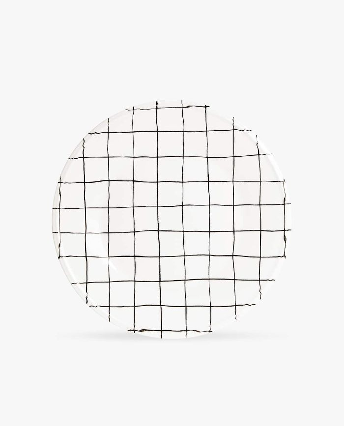 Zara Home Grid Print Earthenware Dinner Plate