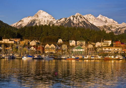 Downtown Sitka And And Small Boat Harbor With Arrowhead Peak In The Background