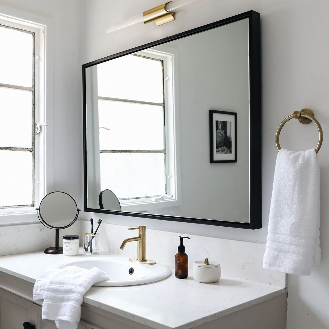 Black mirror in bathroom