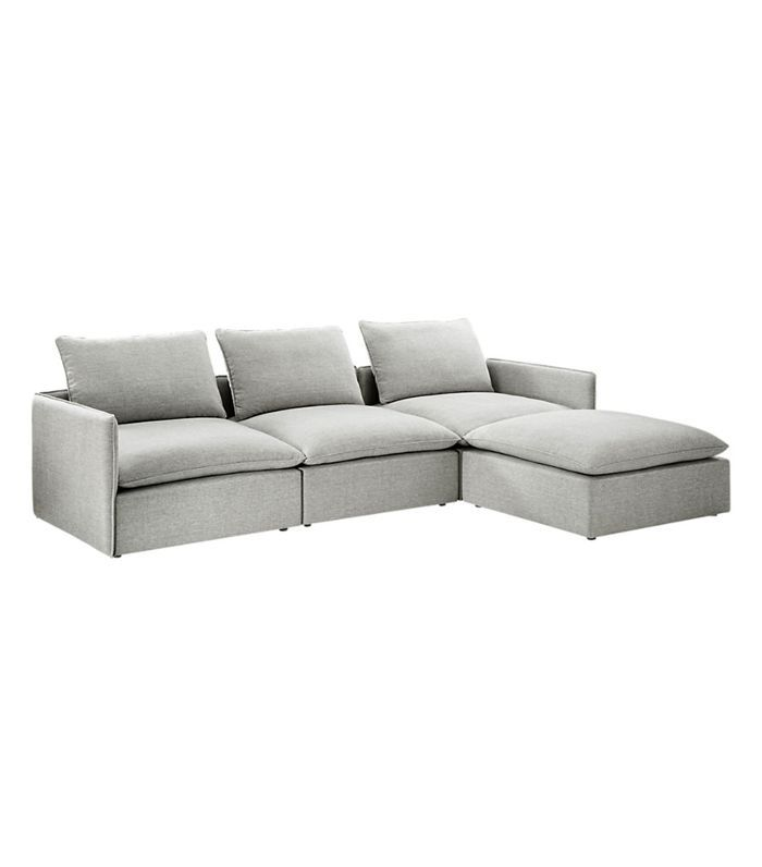CB2 Lumin Grey Linen 4-Piece Sectional Sofa