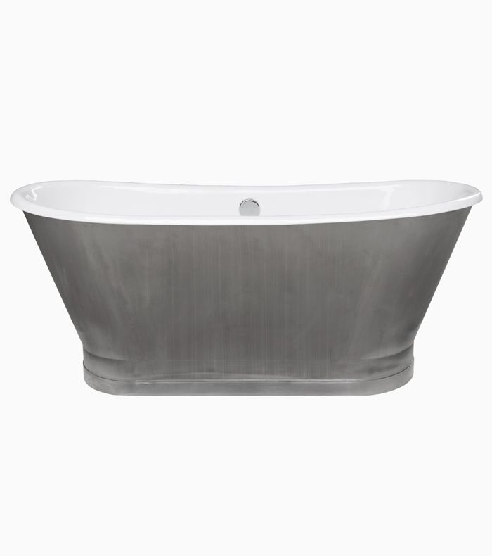 Maykke Gloria Cast Iron Freestanding Bathtub, Stainless Steel