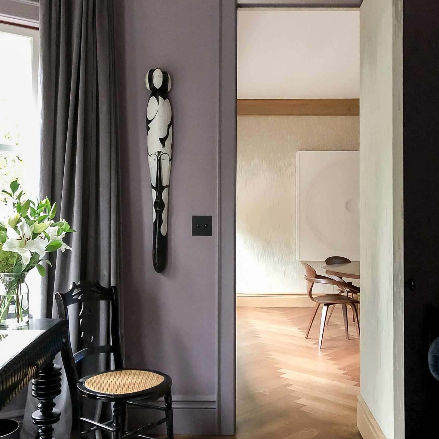 Room with purple gray walls