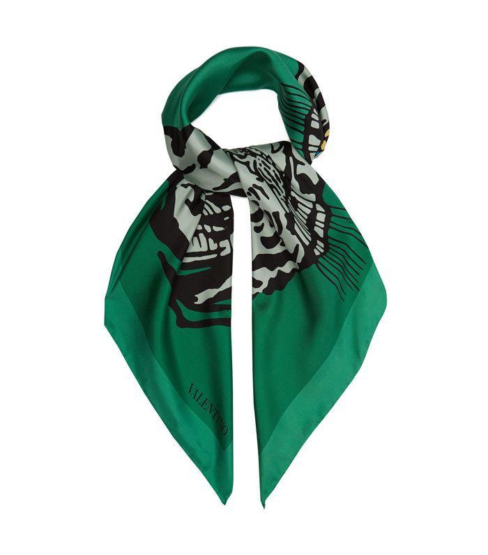 Tiger-print silk scarf