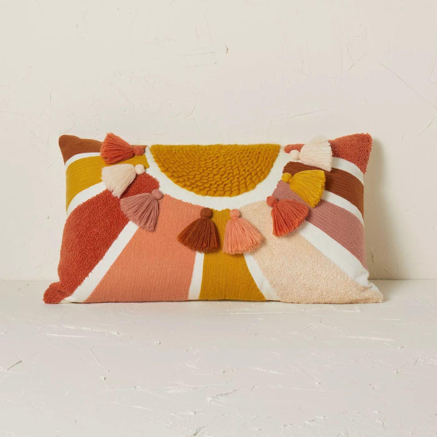 Embroidered Sun Lumbar Throw Pillow
