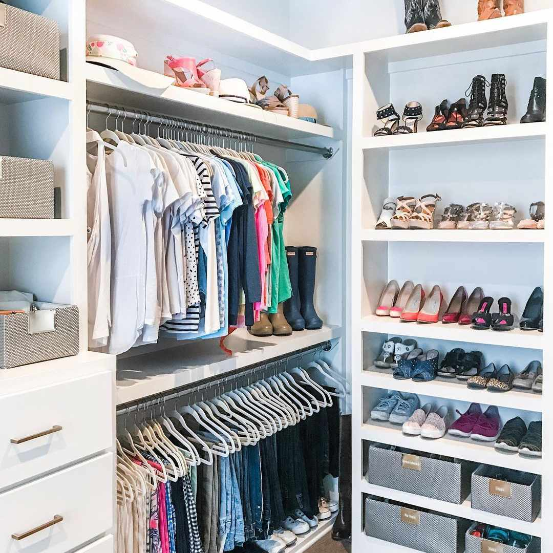 Neat and organized closet.