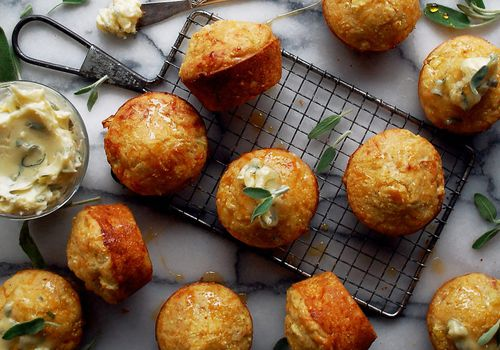 Cheddar Apple Cornbread Muffins with Maple Sage Butter