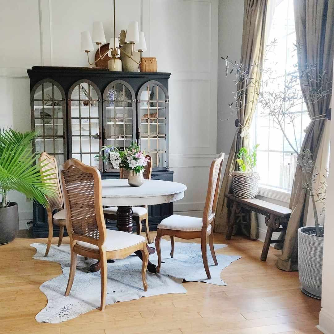 Traditional dining room space.