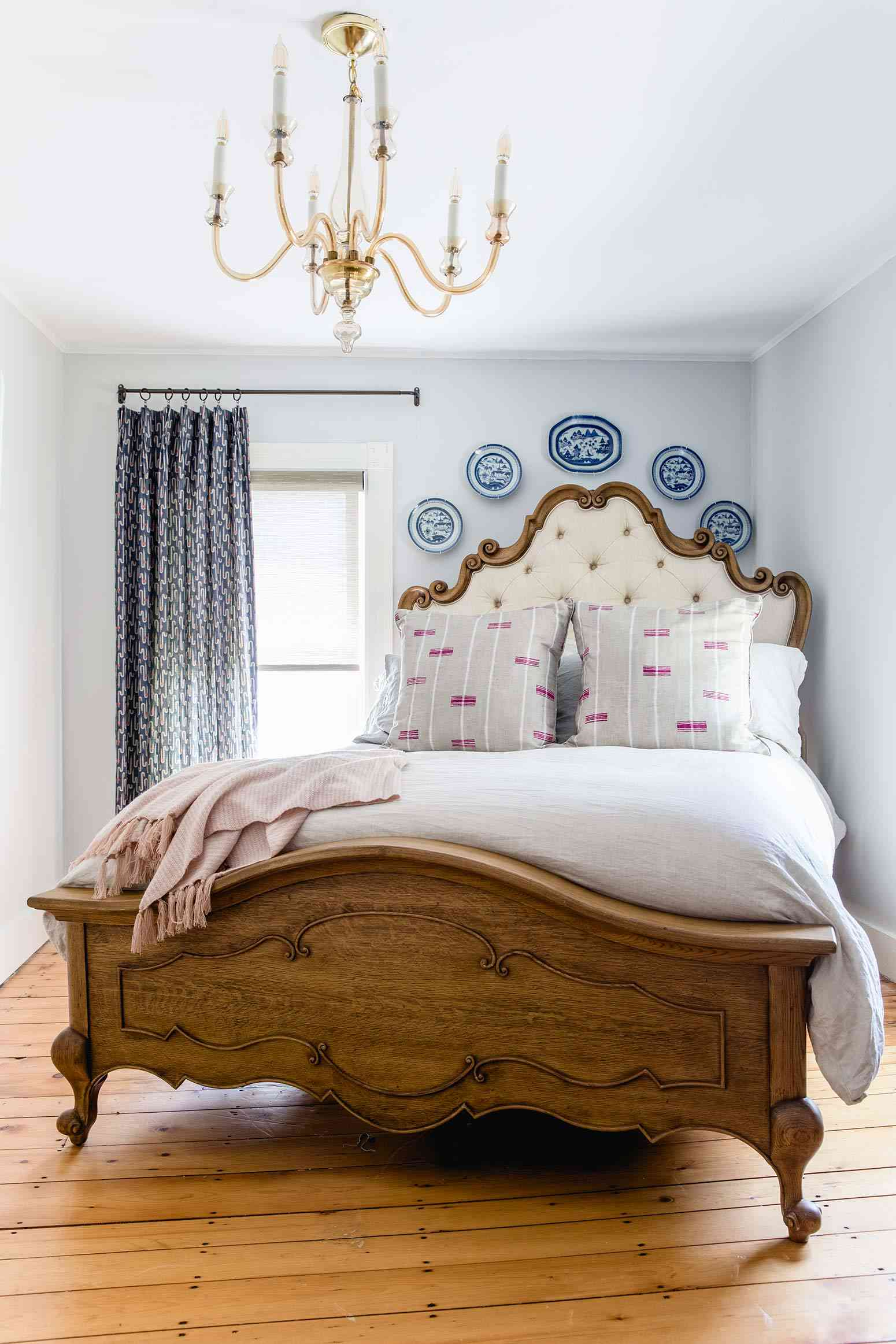 A modern Victorian bedroom with contemporary curtains