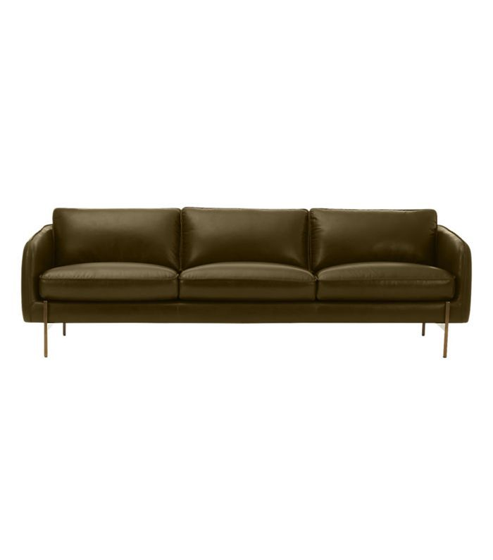 Hoxton Olive Green Leather Sofa